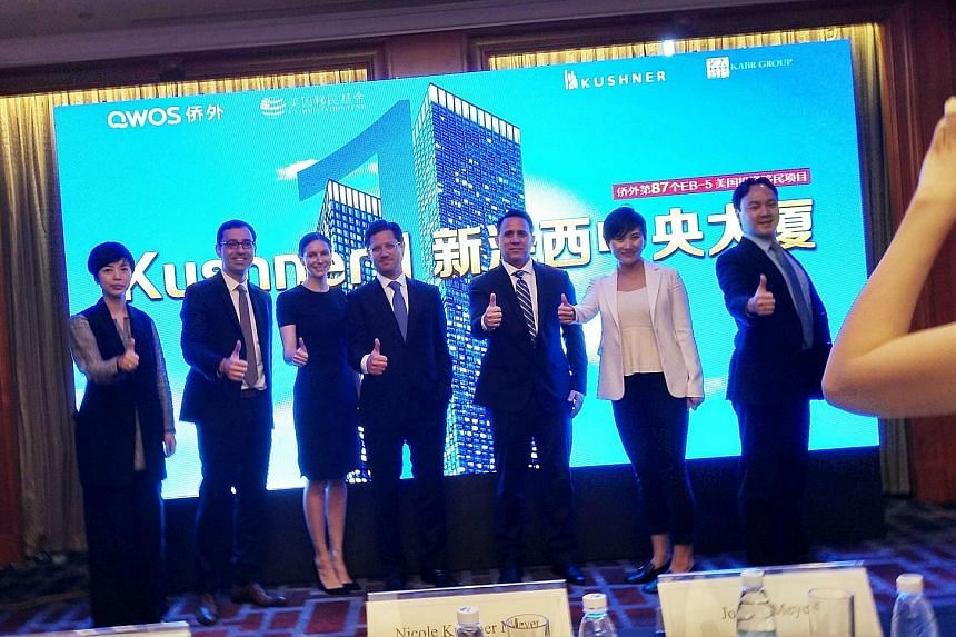 Ms Nicole Kushner Meyer (third from left), the sister of US White House adviser Jared Kushner, at a promotional event in Shanghai on Sunday. She mentioned her brother's name during a pitch to Chinese investors in Beijing on Saturday, raising concerns