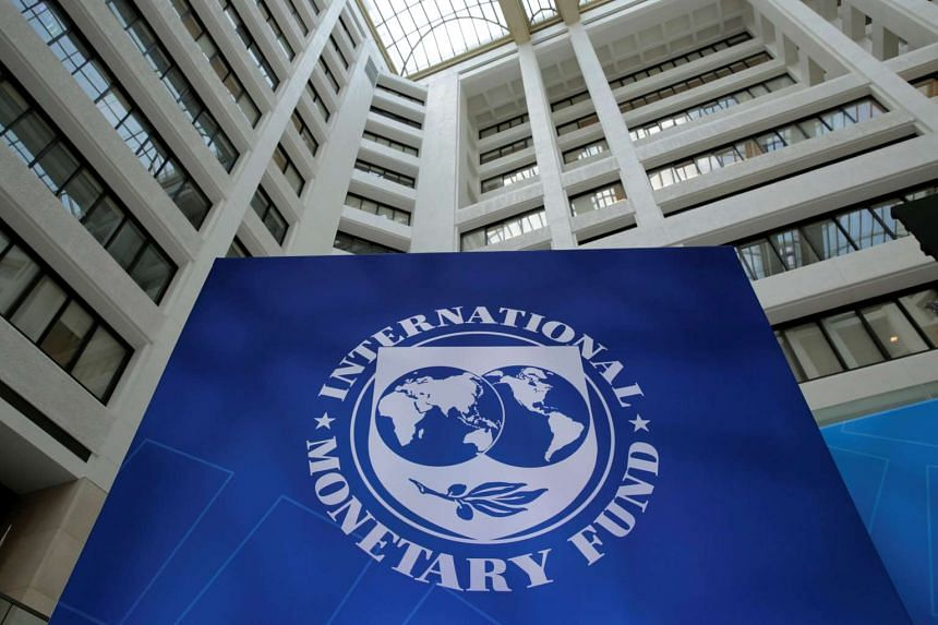 The IMF logo is seen during the IMF/World Bank spring meetings in Washington, US, on April 21, 2017.