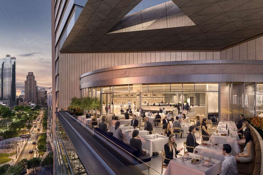 An illustrative rendering of the restaurant Estiatorio Milos, one of the expected options for dining at the Hudson Yards high-rise development that is still under construction.