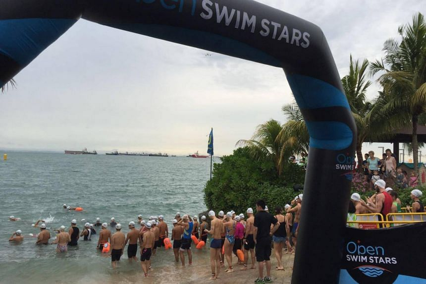 Participants getting ready for the first Open Swim Stars Sunset Race at the NSRCC Sea Sports Centre on May 14, 2016.