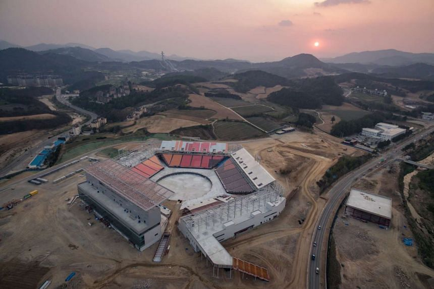 An aerial view of the opening ceremony venue for the 2018 Pyeongchang Winter Olympics in South Korea.