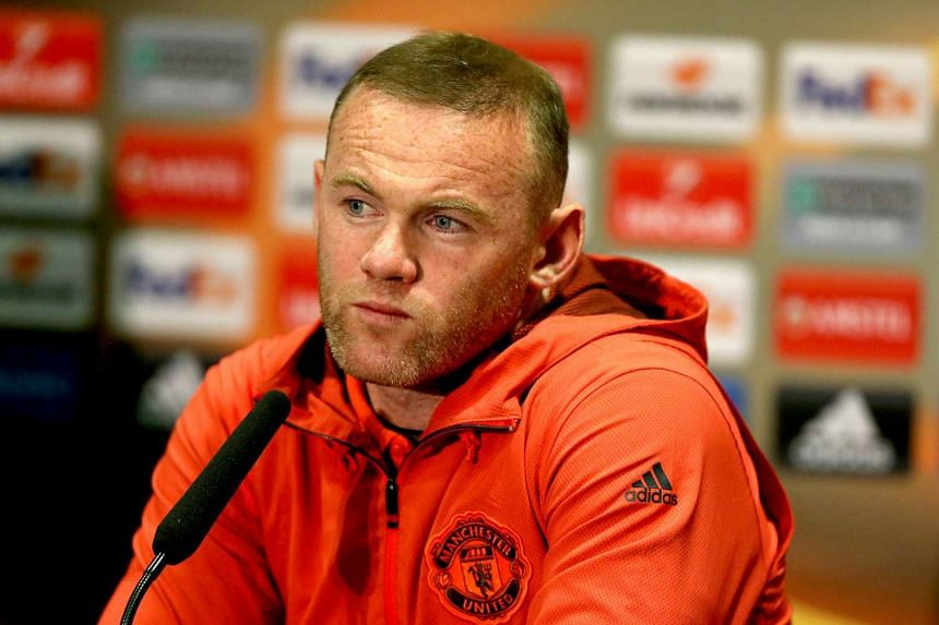 Rooney at a press conference at Old Trafford in Manchester, May 10, 2017.