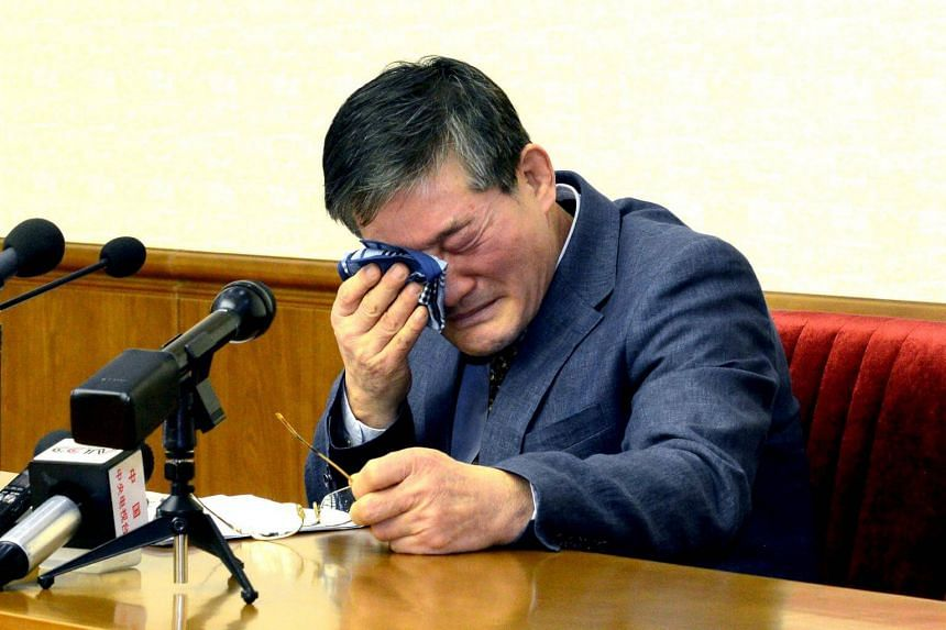 A man who identified himself as Kim Dong Chul and said he was a naturalised American citizen attending a news conference in Pyongyang on March 26, 2016.