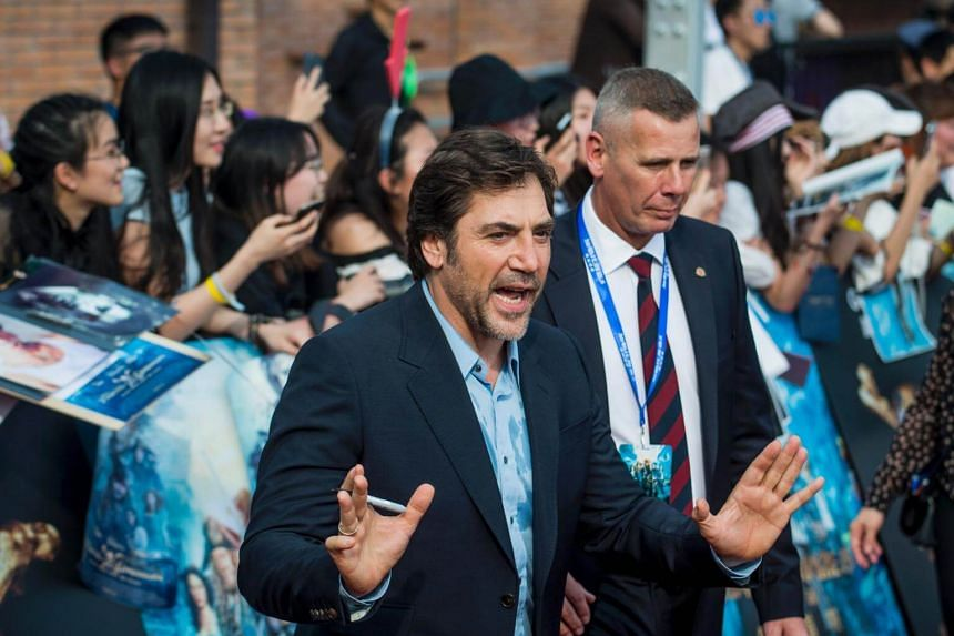 Javier Bardem arriving for the world premiere of the Disney movie Pirates of the Caribbean: Dead Men Tell No Tales in Shanghai on May 11, 2017.