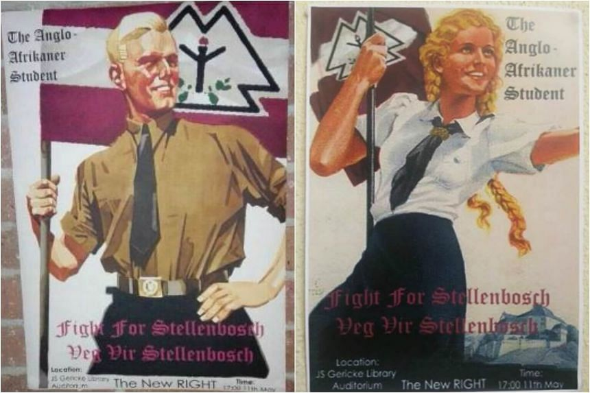 """The offensive posters were put up at a """"Anglo-Afrikaner student"""" event at Stellenbosch University, South Africa and took after Nazi youth movement posters."""