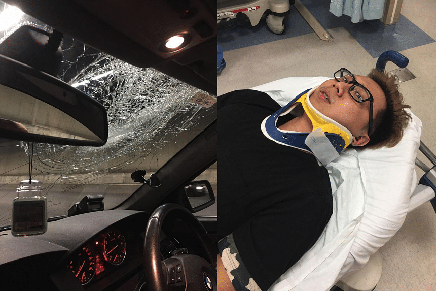 A plastic chair fell and hit Mr Chang's car along the Central Expressway (CTE) on May 8, 2017.