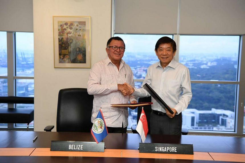 Belize's Minister of Tourism and Civil Aviation Jose Manuel Heredia (left) and Coordinating Minister for Infrastructure and Minister for Transport Khaw Boon Wan.