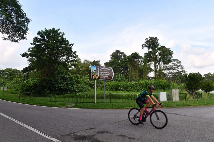 A man cycles past a sign for D'Kranji Farm Resort, at the junction of Neo Tiew Lane 2 and Neo Tiew Road.