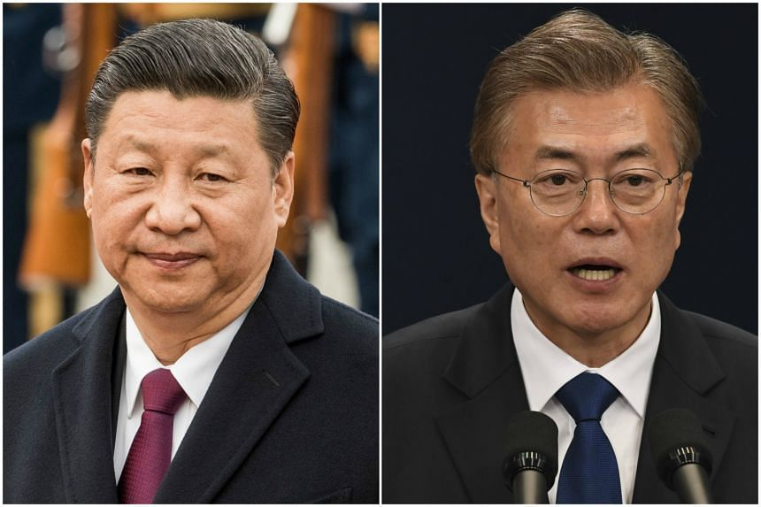 Chinese President Xi Jinping (left) and South Korea President Moon Jae In.
