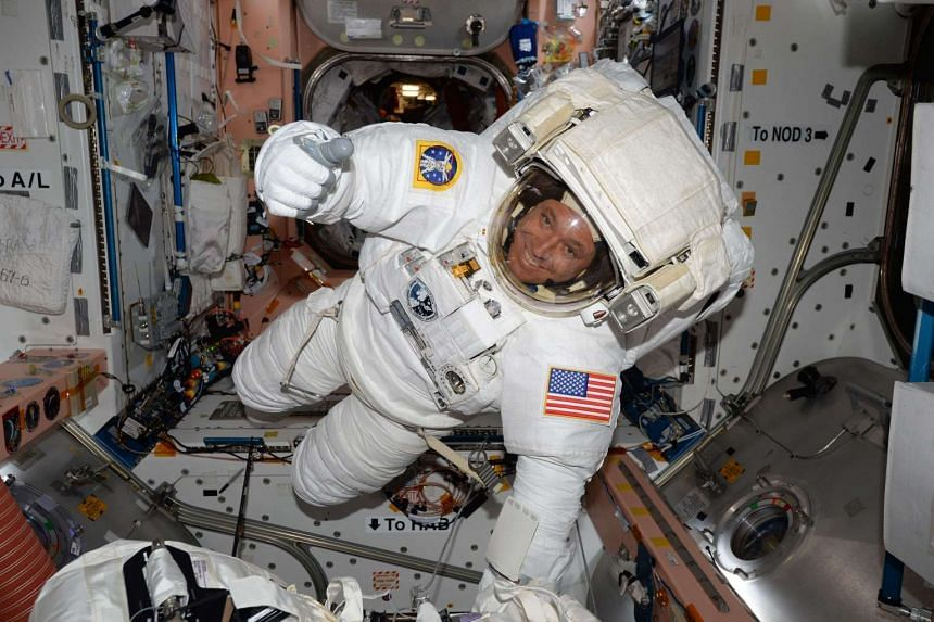 Expedition 51 Flight Engineer Jack Fischer of NASA seen inside the International Space Station (ISS) in his spacesuit during a fit check, in preparation for a spacewalk on May 12, 2017.