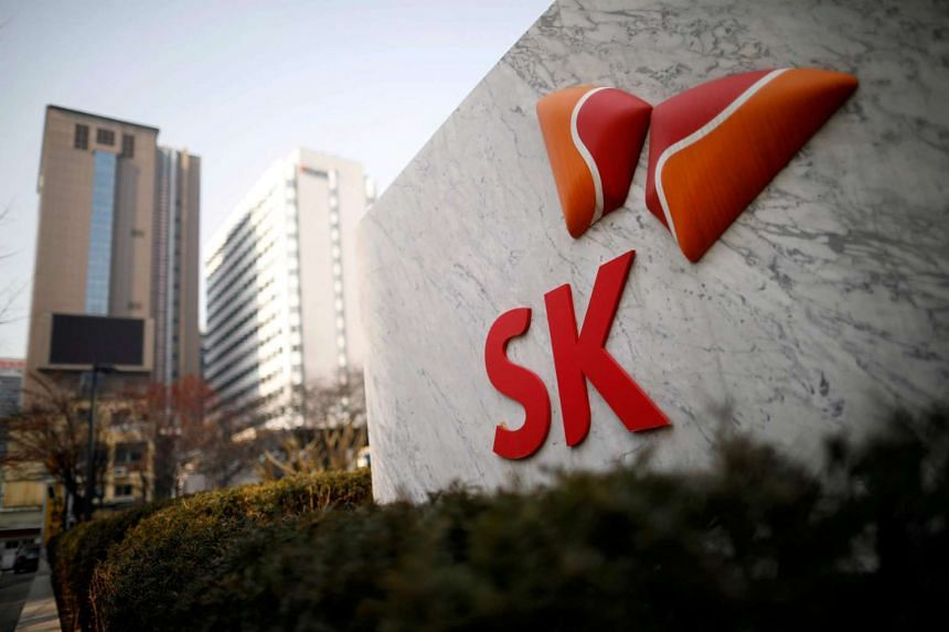 The logo of SK Innovation is seen in front of its headquarters in Seoul, South Korea, on Feb 3, 2017.