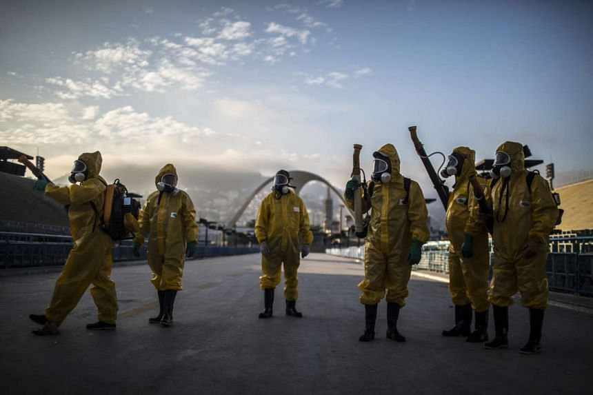 Workers fumigating the Sambadrome ahead of Carnival celebrations in Brazil in January last year.