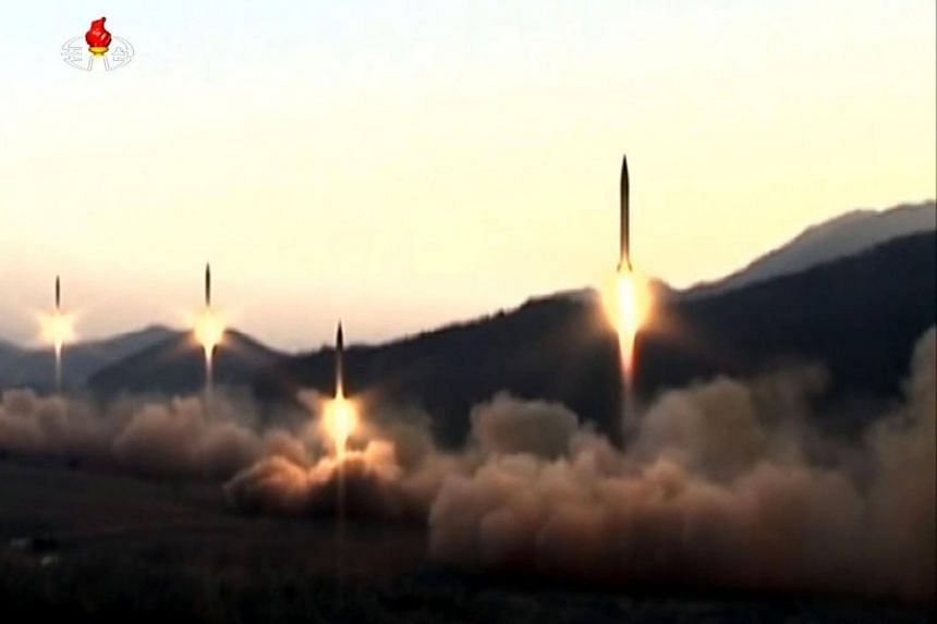 Ballistic missiles being launched during a military drill from an undisclosed location in North Korea taken from North Korean broadcaster KCTV on March 7, 2017.