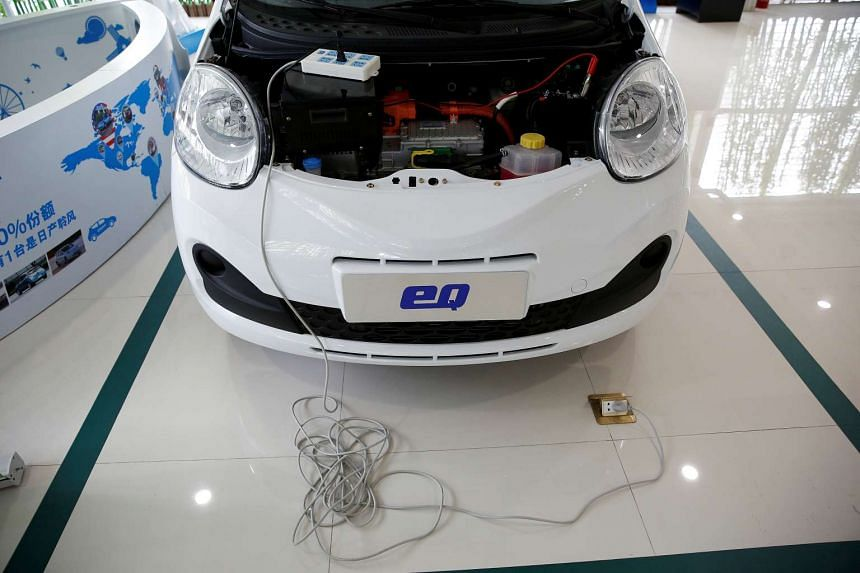 A Chery EQ electric car is displayed at a electric car dealership in Shanghai, China.