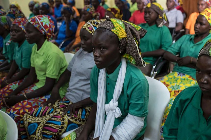 Some of the recently released girls from Chibok wait in Abuja on May 8, 2017.
