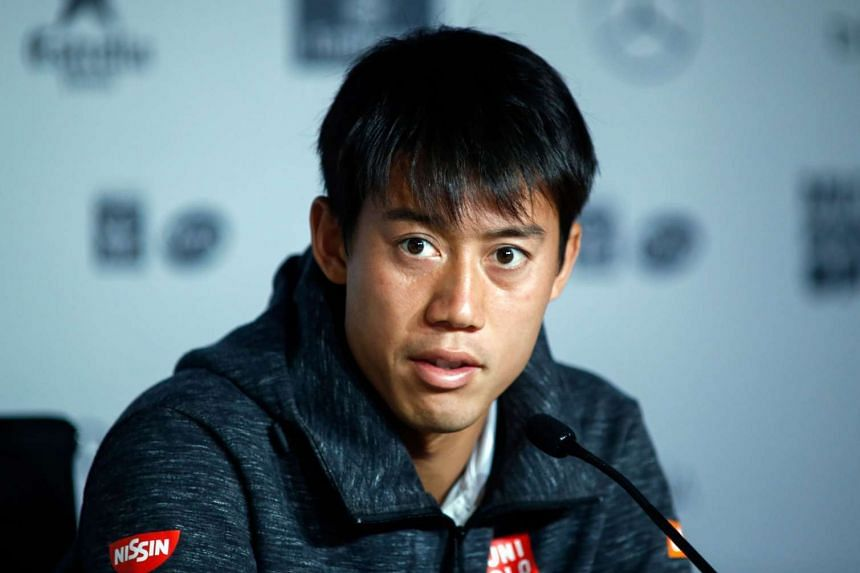 Nishikori gives a press conference announcing his withdrawal from the tournament, May 12, 2017.
