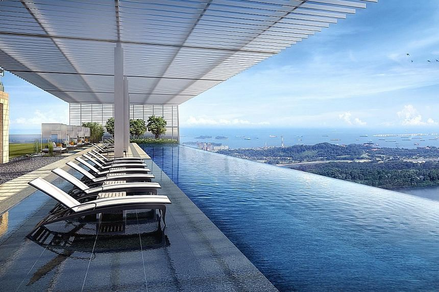 The infinity pool at Wallich Residence, which will open in the second half of the year. It will have 181 luxury units.