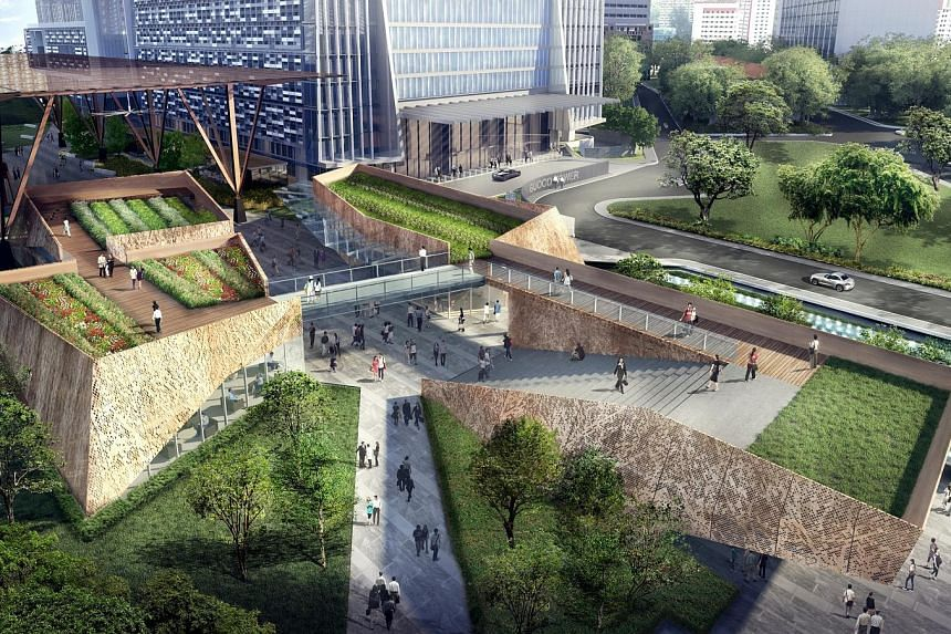 An artist's impression of the Urban Park, which will have an open green lawn and six rooftop gardens when it is completed.