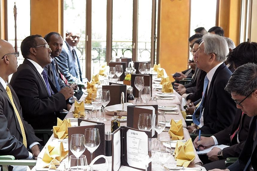 Singapore's Deputy Prime Minister Teo Chee Hean (right, in blue tie) was hosted to lunch by Ethiopian Deputy Prime Minister Demeke Mekonnen (second from left) on Tuesday.