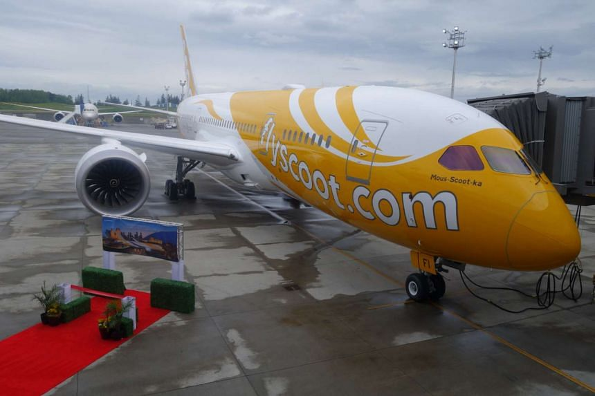 Scoot's newest Dreamliner, equipped with crew bunks for long-haul flights.