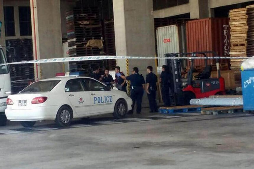 A man died after getting hit twice by a steel bar that fell from a forklift in an industrial site.