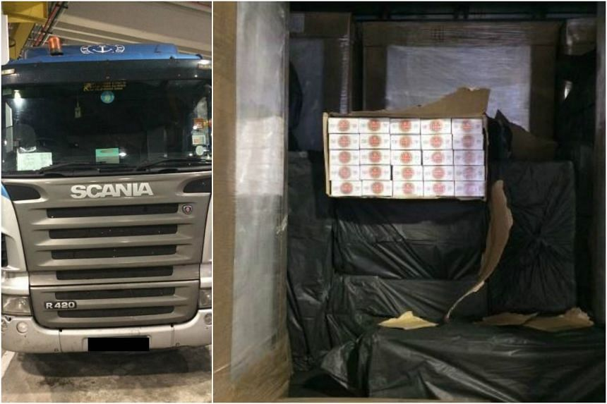 The cigarettes were found hidden among the truck's cargo, which was declared to be storage cabinets.