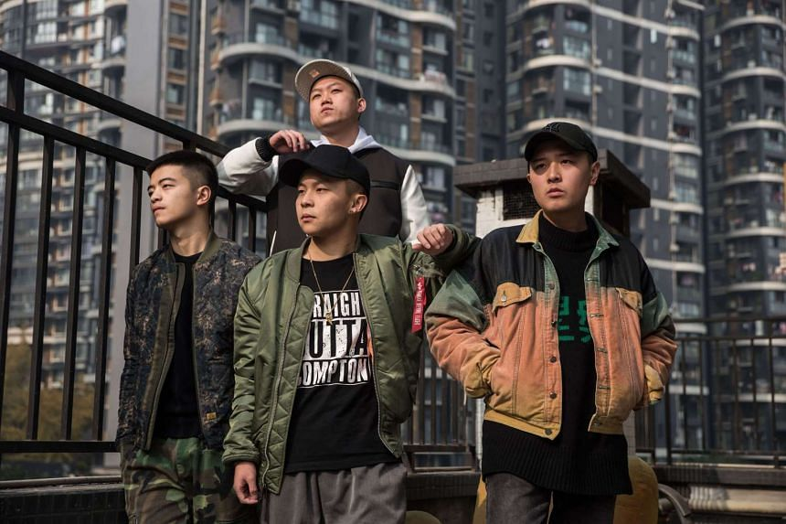 CD Rev, a Chinese rap group, in Chengdu, China on Dec 7, 2016.
