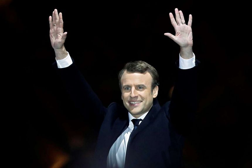 French President-elect Emmanuel Macron celebrating at his victory rally, on May 7, 2017.