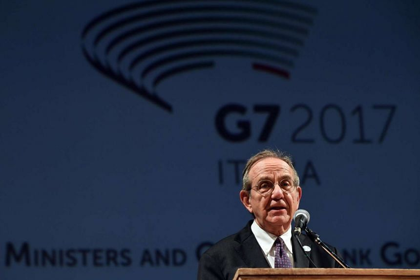 The Minister of Economy and Finances of Italy, Pier Carlo Padoan, during the G7 Ministerial Meeting on Finance in Bari, Italy on May 11, 2017.