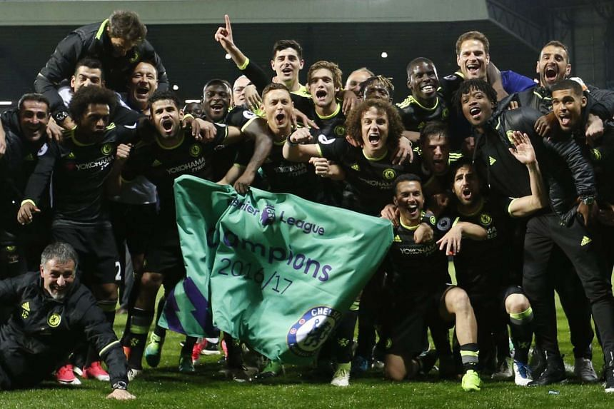 Chelsea celebrate winning the Premier League title.