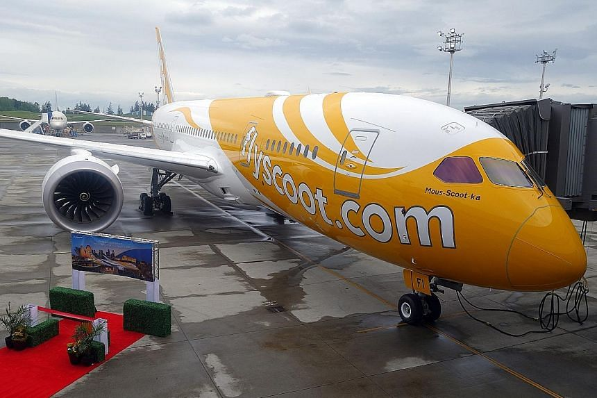 Scoot's newest Boeing 787 Dreamliner, seen here at Boeing's Everett Delivery Centre in Seattle, is the carrier's second to be fitted with crew bunks and will ply the Singapore-Athens service starting next month.