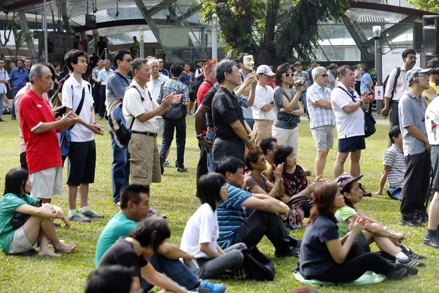 Participants attending a protest against issues such as an influx of foreigners into Singapore and public transport fare hikes held at the Speakers' Corner in Hong Lim Park on 31 January 2015
