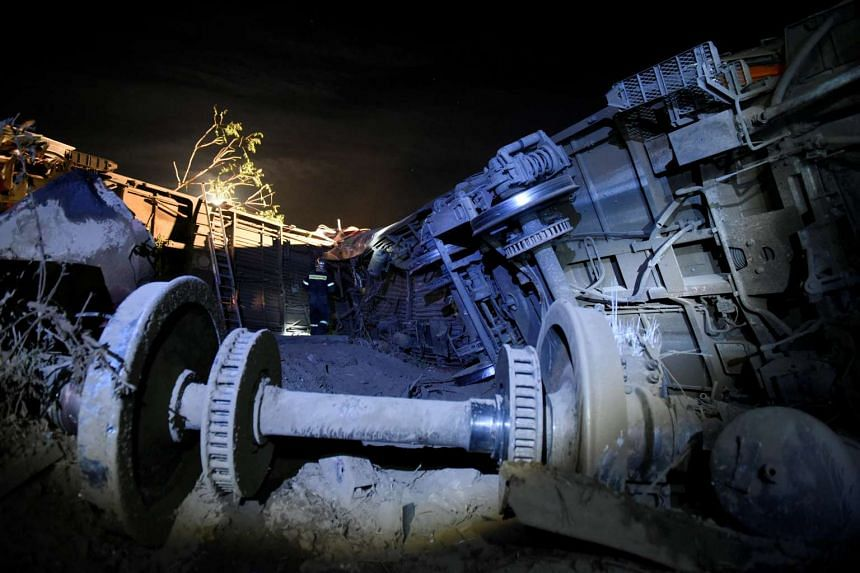 Parts of a train are seen after it derailed and crashed in the town of Adendro in northern Greece on May 13, 2017.