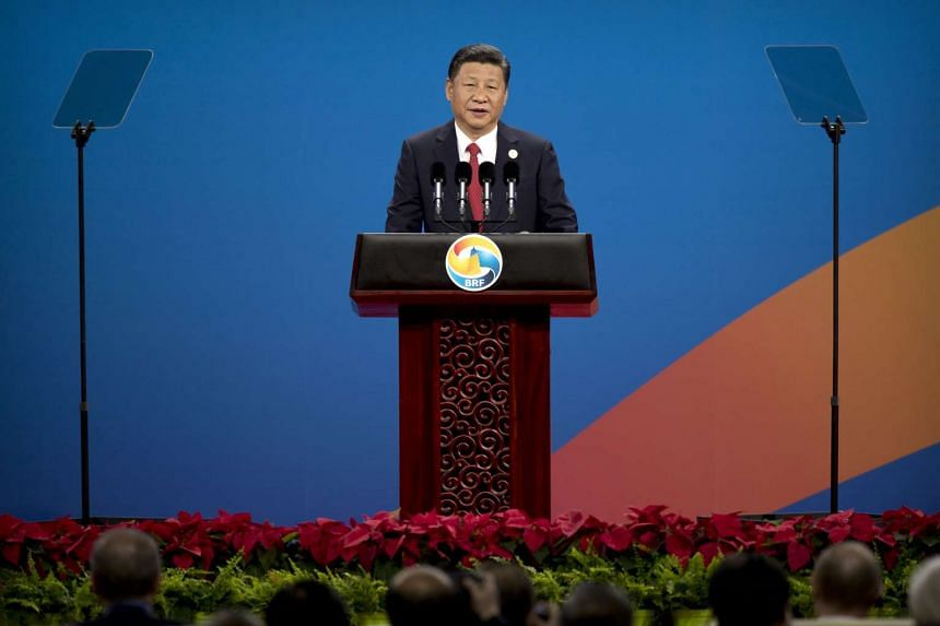 Chinese President Xi Jinping speaks during the opening ceremony of the Belt and Road Forum at the China National Convention Center in Beijing on Sunday (May 14).