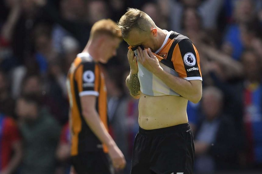 Hull City's Kamil Grosicki looking dejected after defeat by Crystal Palace on May 14, 2017.
