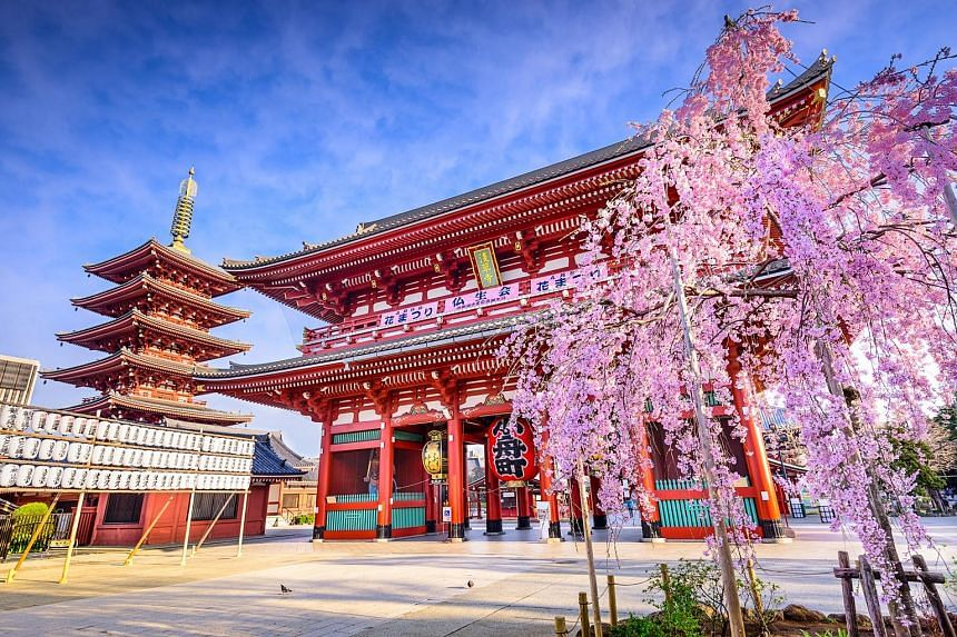 Book a return flight to Tokyo to visit Asakusa (left) and get a Grab promotional code worth $10.