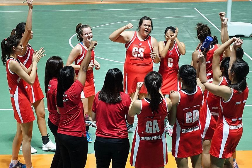 Singapore's 21 & Under team celebrating after winning their first Asian Youth netball title since the 1994 inaugural edition. They beat Malaysia 47-43 in the final at the Jeonju World Cup Stadium