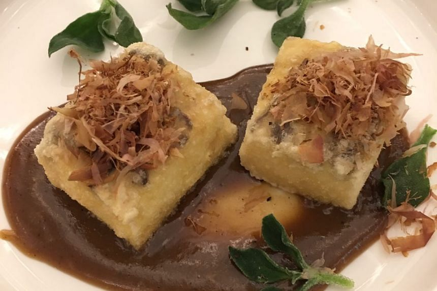 Crispy Home Made Tofu, Foie Gras-mirin Sauce, Iced Lettuce ($14)