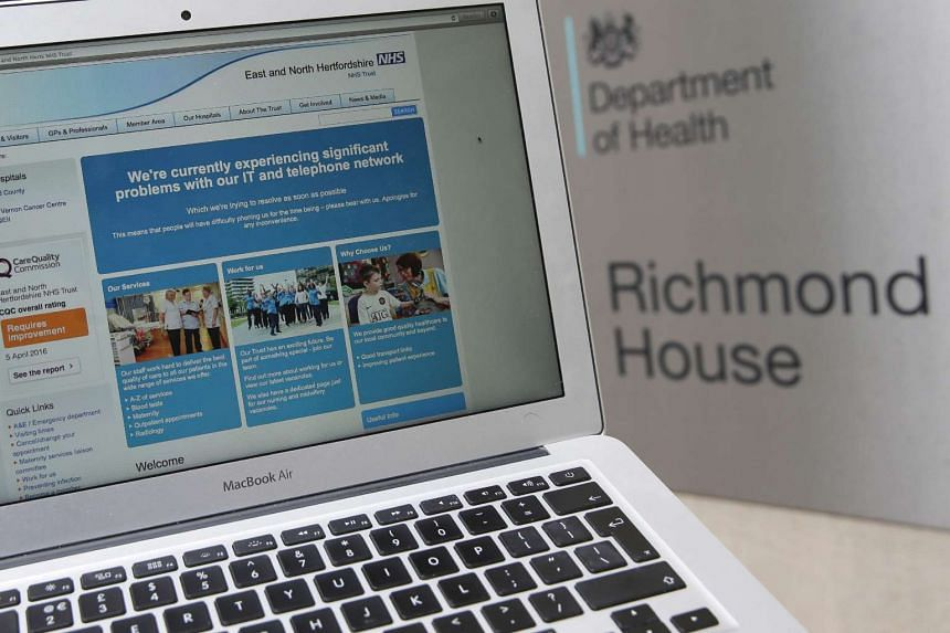 The website of the NHS: East and North Hertfordshire notifying users of a problem in its network taken outside the Department of Health in London.