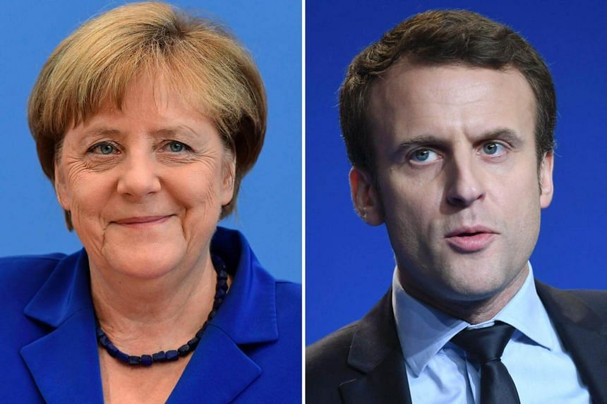 New French President Emmanuel Macron (left) will be meeting  German Chancellor Angela Merkel (right) for the first time since the French election in a bid to kick-start the Franco-German relationship.