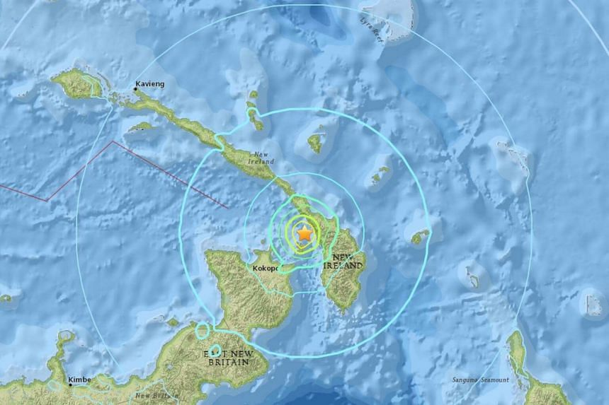 According to the US Geological Survey, the earthquake struck in waters near the sparsely populated New Britain island, 450km north-east of Papau New Guinea's capital Port Moresby.