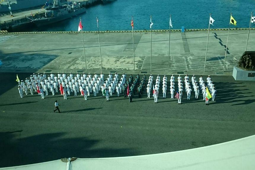 International contingents on the parade square at Changi Naval Base. ST PHOTO: CHEW SENG KIM