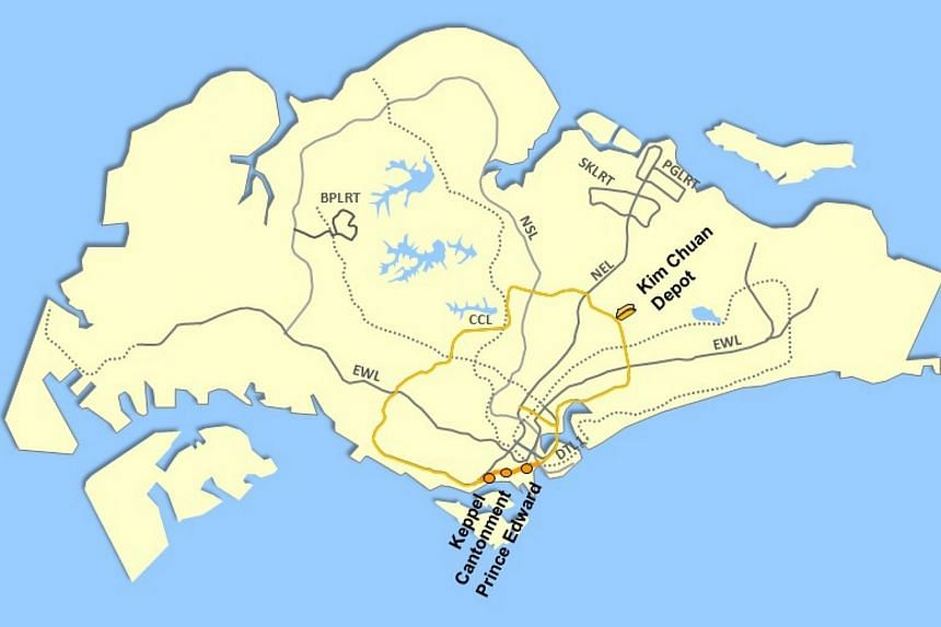 A map showing the locations of the three new Circle Line stations - Keppel, Cantonment and Prince Edward.