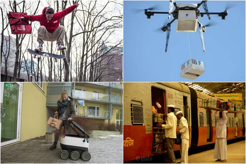 Clockwise from top left: Grubhub's Delivery X: Delivery Without Limits (DX) service; 7-Eleven's first commercial drone delivery; Mumbai's dabbawallas loading lunch boxes on a train and a robot by Starship Technologies makes a food delivery.