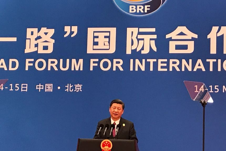 Chinese President Xi Jinping speaking at a press conference at the end of the Belt and Road Forum in Beijing on May 15, 2017.