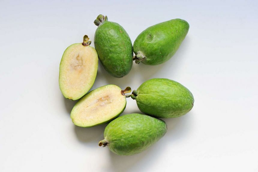 Feijoas: Many liken them to guavas or quince, but their complex flavour also brings to mind strawberries and pineapple, with a pear-like gritty texture, and a hint of mint.