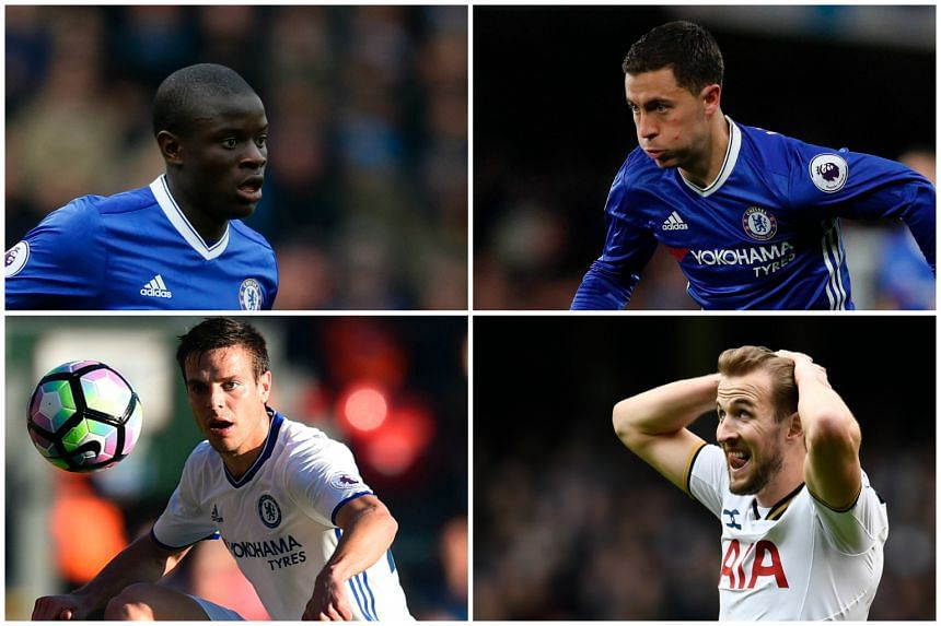 (From top left) Chelsea midfielder N'Golo Kante, winger Eden Hazard, full-back Cesar Azpilicueta, Tottenham striker Harry Kane are in the running for the Premier League Player of the Season award.