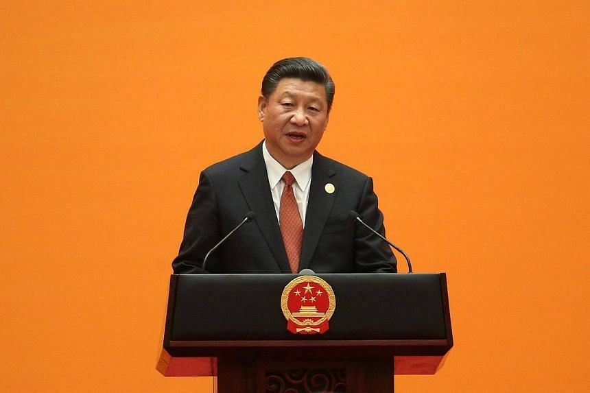 Chinese President Xi Jinping delivers a speech during a welcome banquet for the Belt and Road Forum at the Great Hall of the People in Beijing on Sunday (May 14).