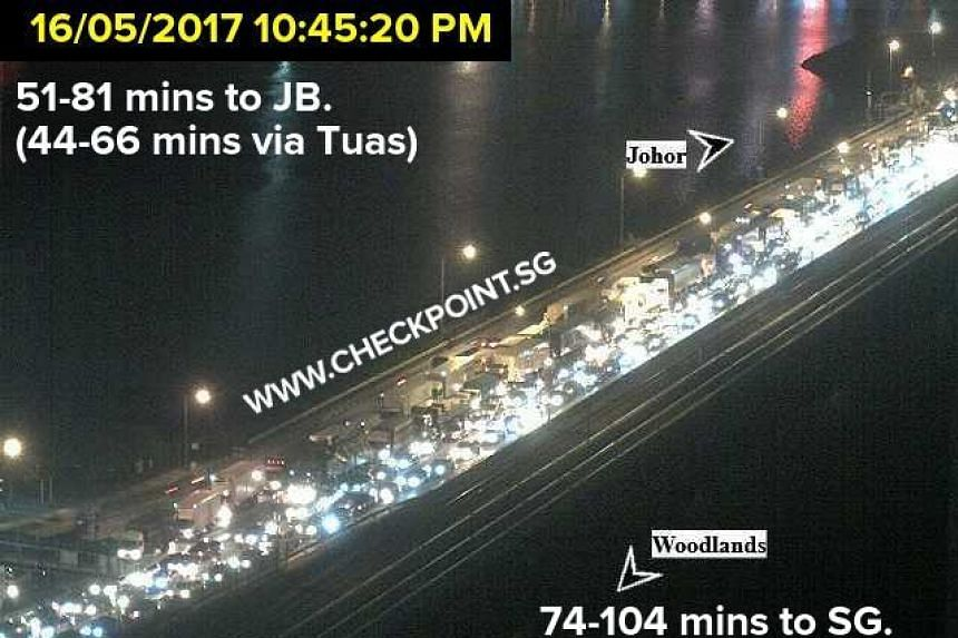 The traffic situation near Woodlands Checkpoint as shown by live webcams from the Land Transport Authority.