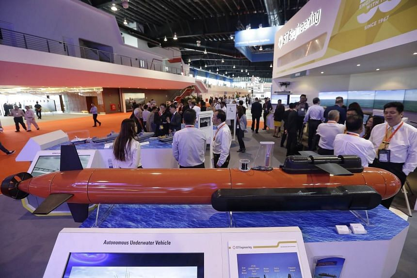 An autonomous underwater vehicle being exhibited at ST Engineering's booth during the Imdex Asia 2017 Maritime Defence Show at Changi Exhibition Centre on May 16, 2017.